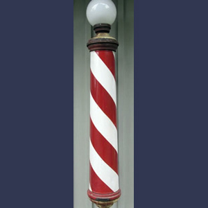 Vintage porcelain barbershop light up pole
