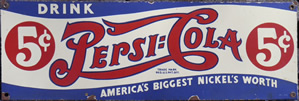 Porcelain Pepsi Cola soda sign