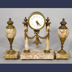 French Neoclassical bronze and rose marble clock set with side garnitures