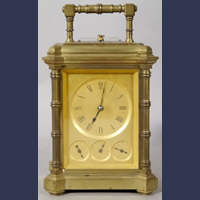 Drocourt Multi dial Complicated Grande Sonnerie movement bronze carriage clock