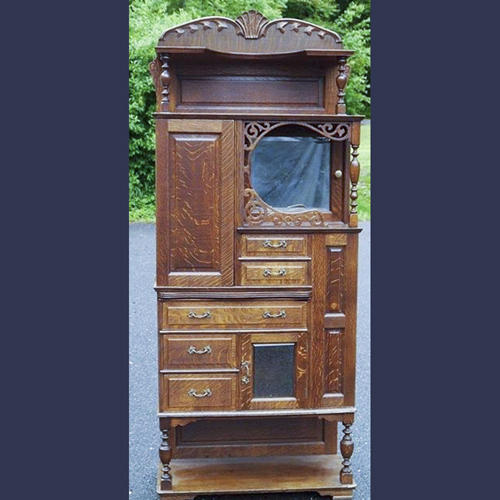 Victorian quarter sawn oak dental cabinet . American made by Ransom and Randolph