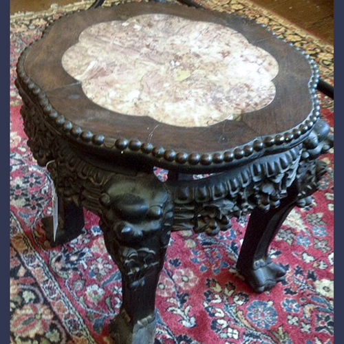 Antique Chinese carved hardwood rose colored marble top taboret stand table
