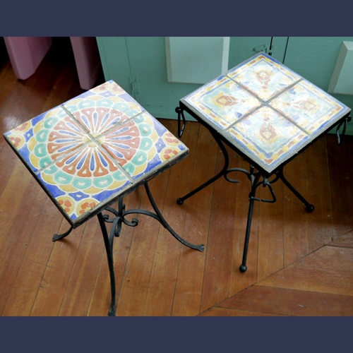 Vintage California Catalina tile top tables for a sunroom or on a patio
