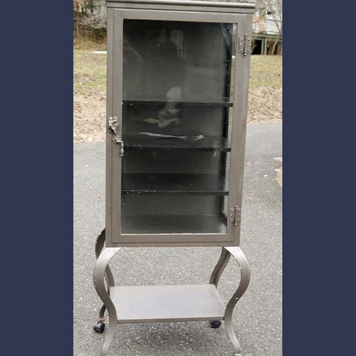 Vintage medical Doctors cabinet with cabriole legs  Metal and glass