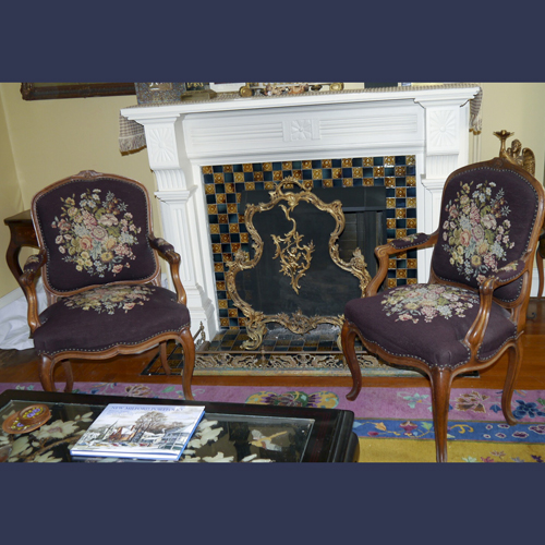 Vintage needlepoint parlor chairs