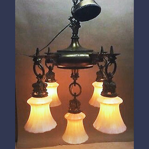 Antique chandelier with american art glass  Steuben shades