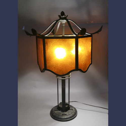 Antique bronze Asian style mica shade lamp