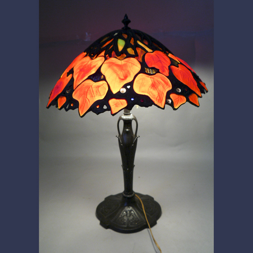 Vintage  red leaf stained ,leaded glass lamp