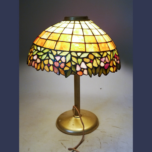 Antique leaded Stained glass lamp possible Handel made in Connecticut
