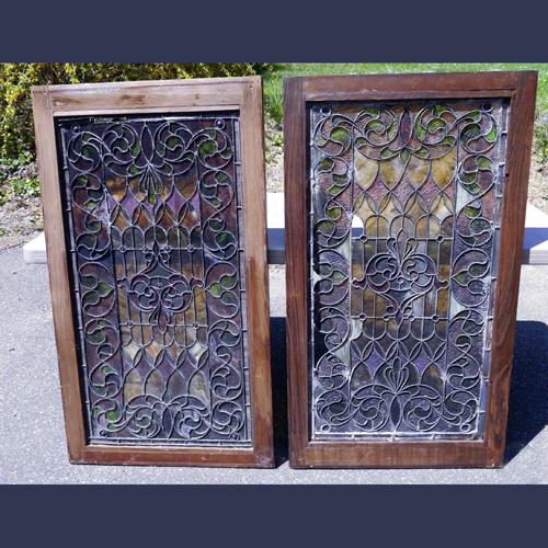 Antique leaded and jeweled glass windows