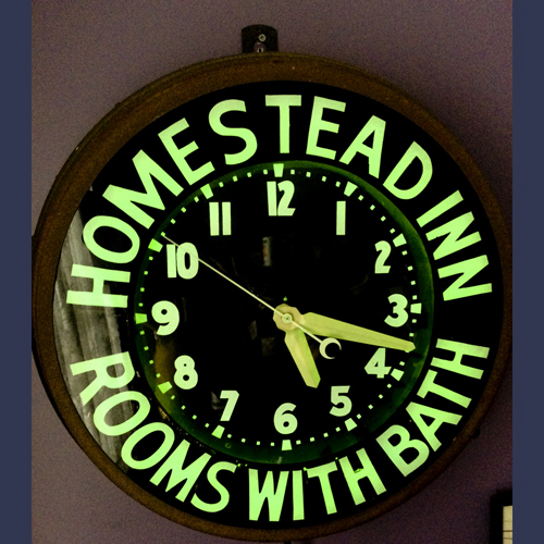 The Homestead Inn New Milford Ct . Advertising Neon Clock
