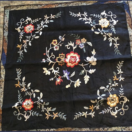 Antique Embroidered Chinese silk table covering