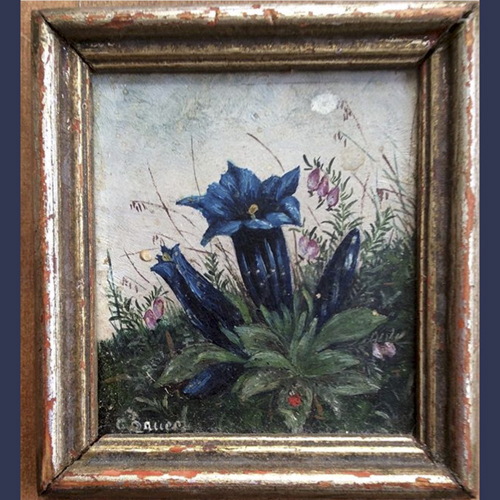 Antique miniature 3 Inch Bavarian German oil painting of mountain flowers