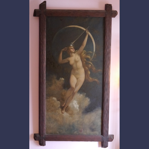 Vintage Art Nouveau mythological oil painting of Diana the Huntress