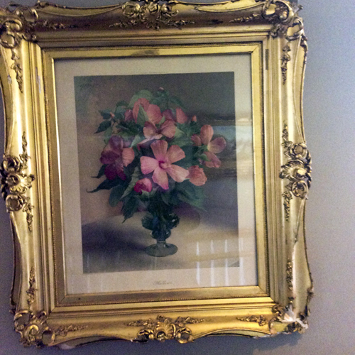 Vintage floral watercolor gouache still life c 1920. Original Carved Gold frame