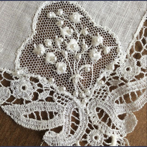 Vintage hand made Bridal lace with beading for Veils and dresses