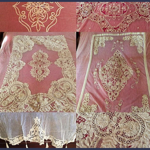 Antique Victorian French Tambour lace bedspreads Full and Queen size