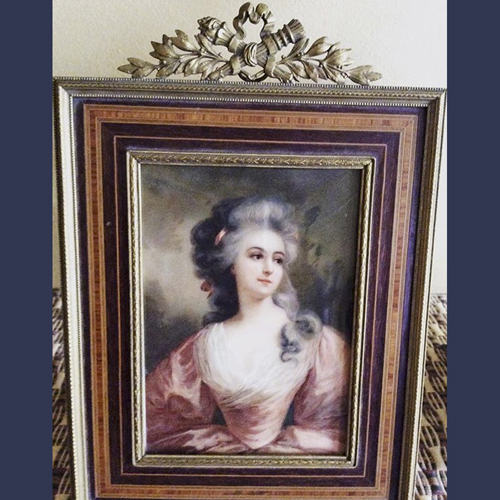 Antique Victorian Gilt Bronze Photo picture frame with Inlaid wood . French 6 x 8