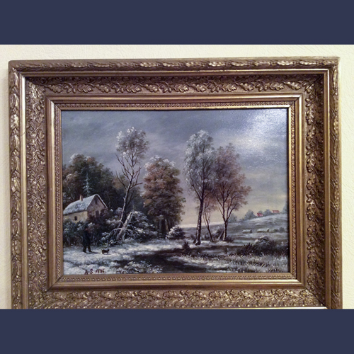 Antique oil paintings . European winter snow Landscape in Gilt Gesso wood frame . C 1900