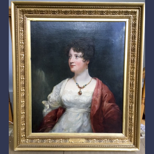 Antique French portrait painting . Oil on Canvas Artist Signed Beechy.