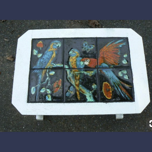 California Catalina pottery tile top table with Parrots
