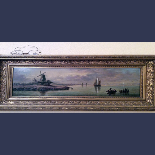 Antique European oil painting seascape Dutch windmills.