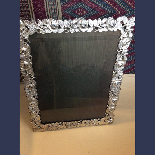 Vintage silver plated photo picture frame with roses . Large size 12 x 15