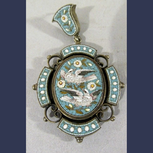 Antique Victorian Italian Micro mosaic pendent set in silver