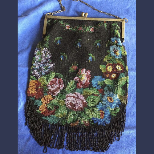 Art Deco flapper era Micro glass beaded floral bag with silver frame