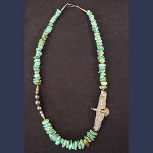 Vintage Native American Indian turquoise and sterling pawn necklace