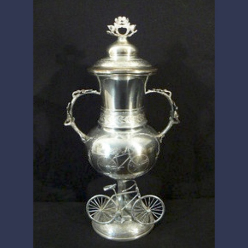 Antique Monumental sterling silver bicycle race figural trophy