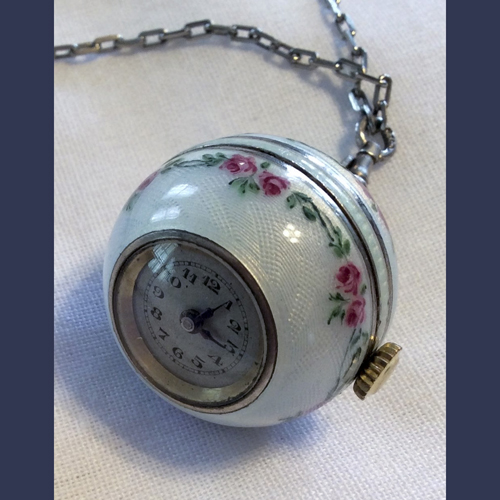 Sterling Silver and Enameled ladies ball watch necklace