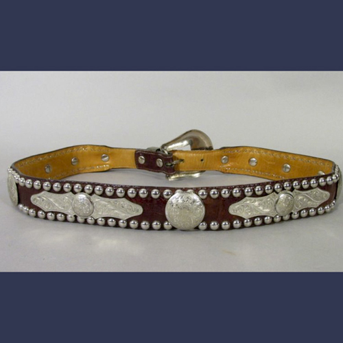 Sterling Silver vintage cowboy belt . Embossed leather with sterling studs and engraved plaques